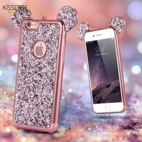 KISSCASE For Iphone 7Plus Luxury Gradient Glitter Case Cute 3D Minnie Mickey Mouse Ear  Case Cover For Apple Iphone 6 6S Plus 7