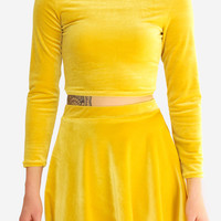 Yellow Long Sleeve Velvet Crop