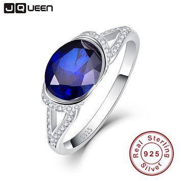 Hot Sale Oval Cut 2ct Blue Sapphire Ring Pure Solid 925 Sterling Solid Silver oval Cut Promotion Engagement Wedding Jewelry