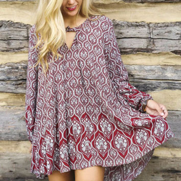 Eternal Sunshine Marsala Arabesque Print Long Sleeve Trapeze Tunic