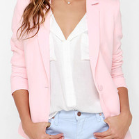Pink Lapel Single Button Blazer