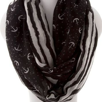 Anchor Infinity  Scarf - Black