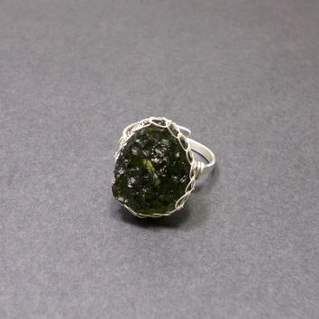Green Moldavite Sterling Silver Ring,  Wire Wrapped Silver Ring, OOAK Jewelry
