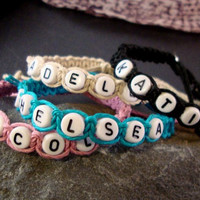 Personalised Girls Hemp Bracelet Any Name by DoubleHJewellery