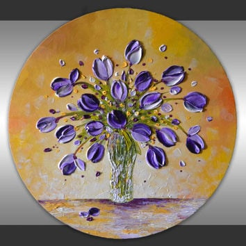 garden flowers lavender purple white tulip flower vase original artwork still life circle decor canvas art abstract painting  gift for her