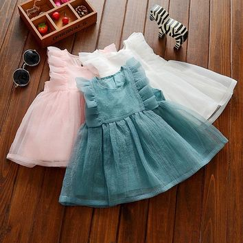 summer baby girl ruched princess dress baby cute dress kids vest puff sleeve birthday clothes dress children costumes vestido