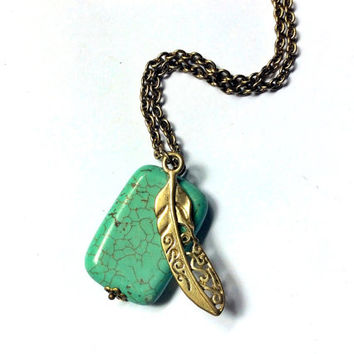 turquoise blue turquenite rectangle bead with feather charm long necklace
