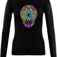 Womens long sleeve shirt Tie Dye Sugar Skull. Womens Large tshirt. Day of the Dead Tee. Black round neck fitted L