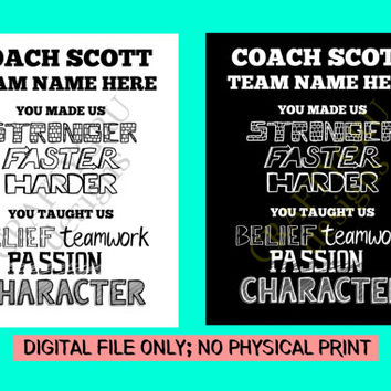 Coach Appreciation Gift, Thank You Coach, Team Gift, Gifts for coach, OOAK Gifts, Football Coach, Custom Coach print, Custom Coach Gift