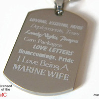 "Marine Wife Dog Tag and 24"" Stainless Steel Ball Chain Necklace FREE SHIPPING"