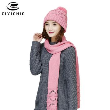 CIVICHIC Autumn Winter Knit Hat Scarf Korean Style Warm Set Hollow Out Crochet Shawl Pompon Beanies Solid 6 Color Headwear SH157