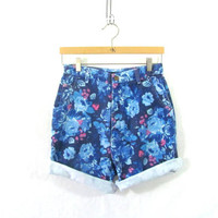 Vintage blue jean floral shorts. high waisted roll up shorts. size 12