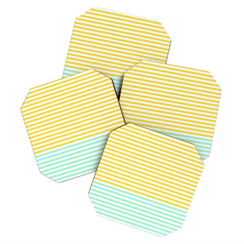 Allyson Johnson Mint And Chartreuse Stripes Coaster Set