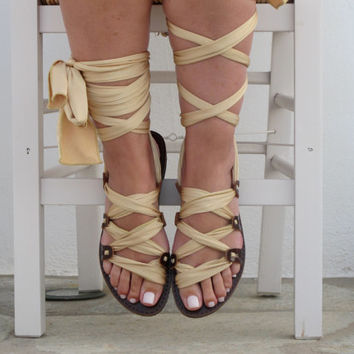 "Greek Gladiator sandals Customizable, Women's sandals, Choose scarf laces from 18 colors and leather footbed from 6 colors  ""ATHENA"" ATHS13"
