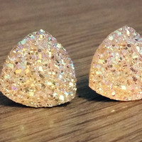 Druzy earrings-  Triangle iridescent champagne yellow druzy earrings