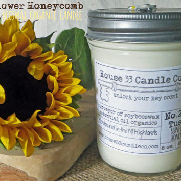 soy wax candle, No.24 The Tuscany, Sunflower Honeycomb candle, soy candle, beeswax + essential oils, organic, hand poured, white, scented
