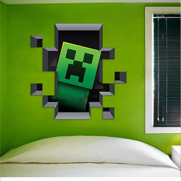 Minecraft Decal - Creeper Hiding In The Wall