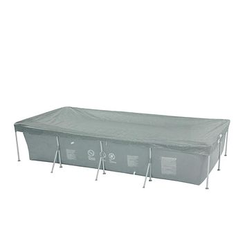 12.9' Durable Apertured Rectangular Gray Pool Cover with Rope Ties