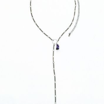Moondrop Adjustable Lariat Necklace — Amethyst or Rose Quartz