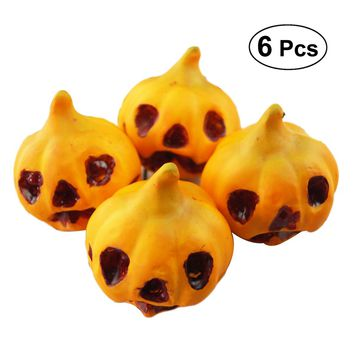 6pcs Lifelike Simulation Artificial Small Foam Pumpkins Carved Scary Face Table Centerpiece Halloween Party Supplies Photo Props