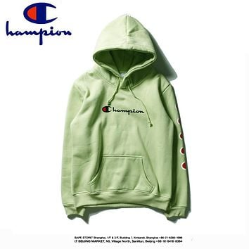 Champion plus velvet hoodie arm print couple models casual long-sleeved sweater Green