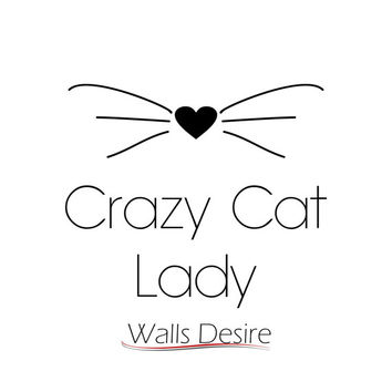 Crazy Cat Lady, With Whiskers And Heart, Room Decor, Gift, Car Window, Laptop, vinyl decal, J00092.