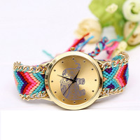 Women's Braided Hand-Woven Elephant Wristwatch