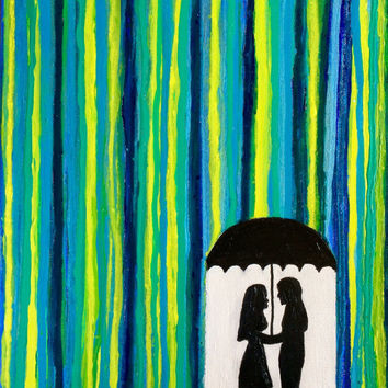 Romantic painting of silhouette couple under umbrella in the rain. A 12x16 side-painted canvas. Original Acrylic Wall Art By JP Morris