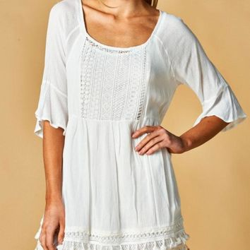 Ivory Boho Babydoll Dress