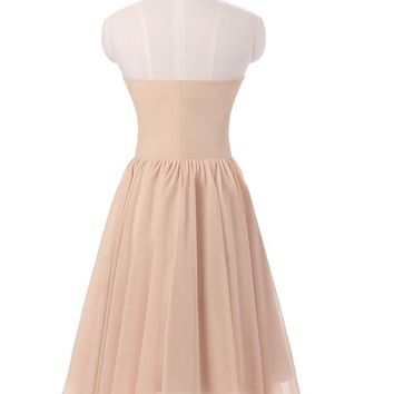 Champagne Bridesmaid Dresses Short Country Formal Dresses Wedding Party Dress Western Prom Gowns 201