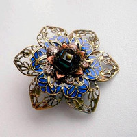 Blue flower brooch, romantic brooch, filigree brooch, flower brooch, painted brooch, romantic gift, girlfriend gift, for her, for wife, gift