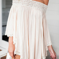 Boho Apricot Off the Shoulder Panelled Loose Dress
