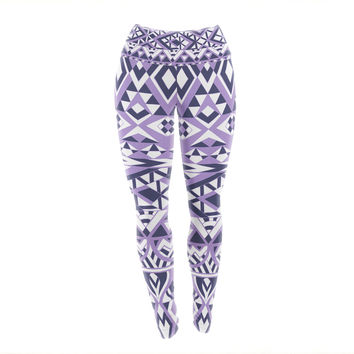 "Pom Graphic Design ""Tribal Simplicity II"" Purple White Yoga Leggings"