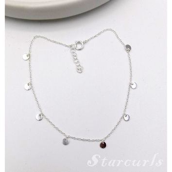 925 Sterling Silver Mini Disc Dangling Anklet (A-1801)