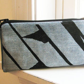 Blue Denim Upcycled Zipper Pouch Blue with Black Painted Design