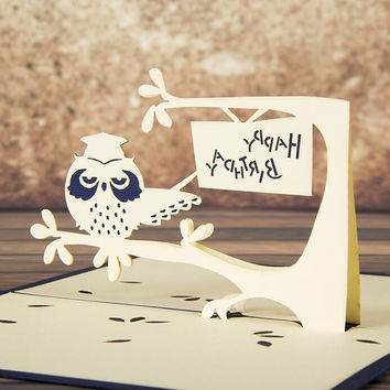 3 Pcs 3D POP UP Handmade Customized Greeting Words Creative Gift Card C1007