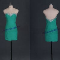 Short green chiffon homecoming dress in 2014,cute sweetheart prom dresses with sequins,sexy sheathy women gowns for holiday party.