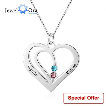 Name Necklace Personalized Carved Name Birthstone Heart Shape 925 Sterling Silver Necklaces & Pendants (JewelOra NE102359)