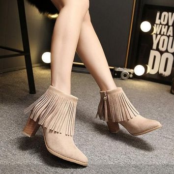 PEAPON Fashion tassels pointed Martin boots high heels