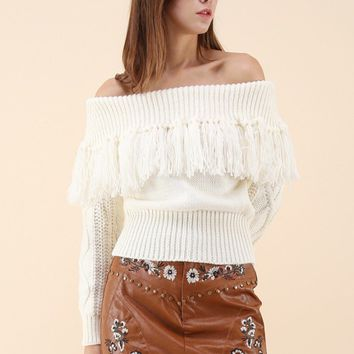Joyful Tassels Off-Shoulder Knit Sweater in white
