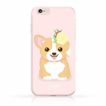 Spring Corgi Pup Flower iPhone Case