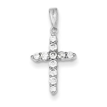 Sterling Silver and Cubic Zirconia Small Cross Pendant
