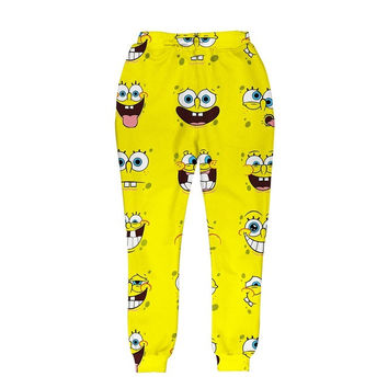 Cartoon Leaf Face 3D Print  Emoji  Jogging Sweatpants