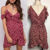 Women's Fashion Summer Spaghetti Strap Ruffle Irregular Floral Dress One Piece Dress [11506715535]