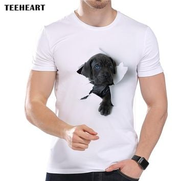 TEEHEART 2017 Summer  Super Cute 3D Dog Design T Shirt Men's Funny Animal Graphics Printed Tops Hipster Tees la453