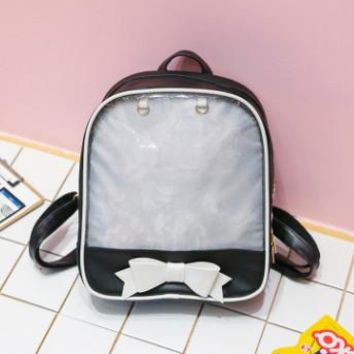 Student Backpack Children Berno fly Kawaii Transparent Heart Window Lolita Student School Bag Backpack Candy Color Lovely Ita Bag Sweet Cute Girls Gift AT_49_3