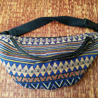 Festival Tribal Fanny pack boho Styles cycling bag Hippie Hipster phanny waist Bum bag Ethnic Ikat Bohemian Stripe unisex Multicolor in blue