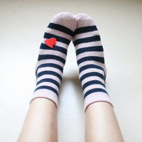 I heart Stripe Angora socks Girly Lovely Retro Cute Winter gift for her