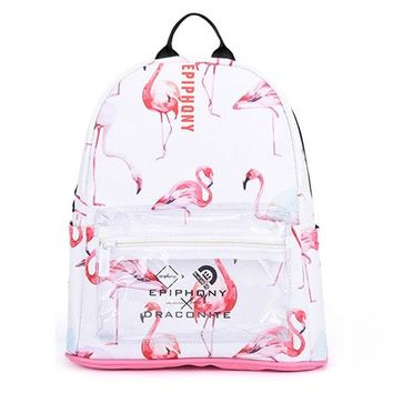 Clear Backpacks popular Epiphqny Famous Brand Animal Bird Printing Clear Backpack Women PU Leather School Bagpack Bag Flamingo Fashion Lady Backpack AT_62_4