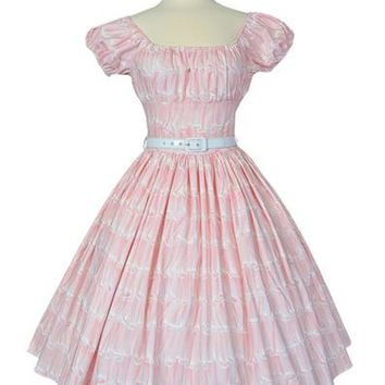 Bernie Dexter Jodi Dress in Pink Taffy Print classy on off the shoulders